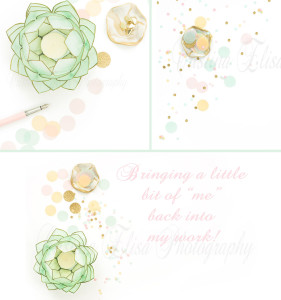 Styled desktop   Styled stock photography   pink mint gold confetti