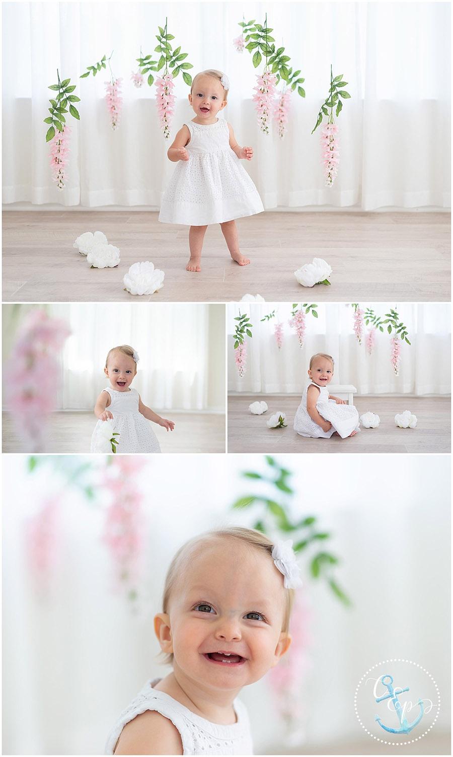 Baby Milestone Session Frederick MD, Floral Wisteria Set, Cristina Elisa Photography LLC, Natural Light Studio
