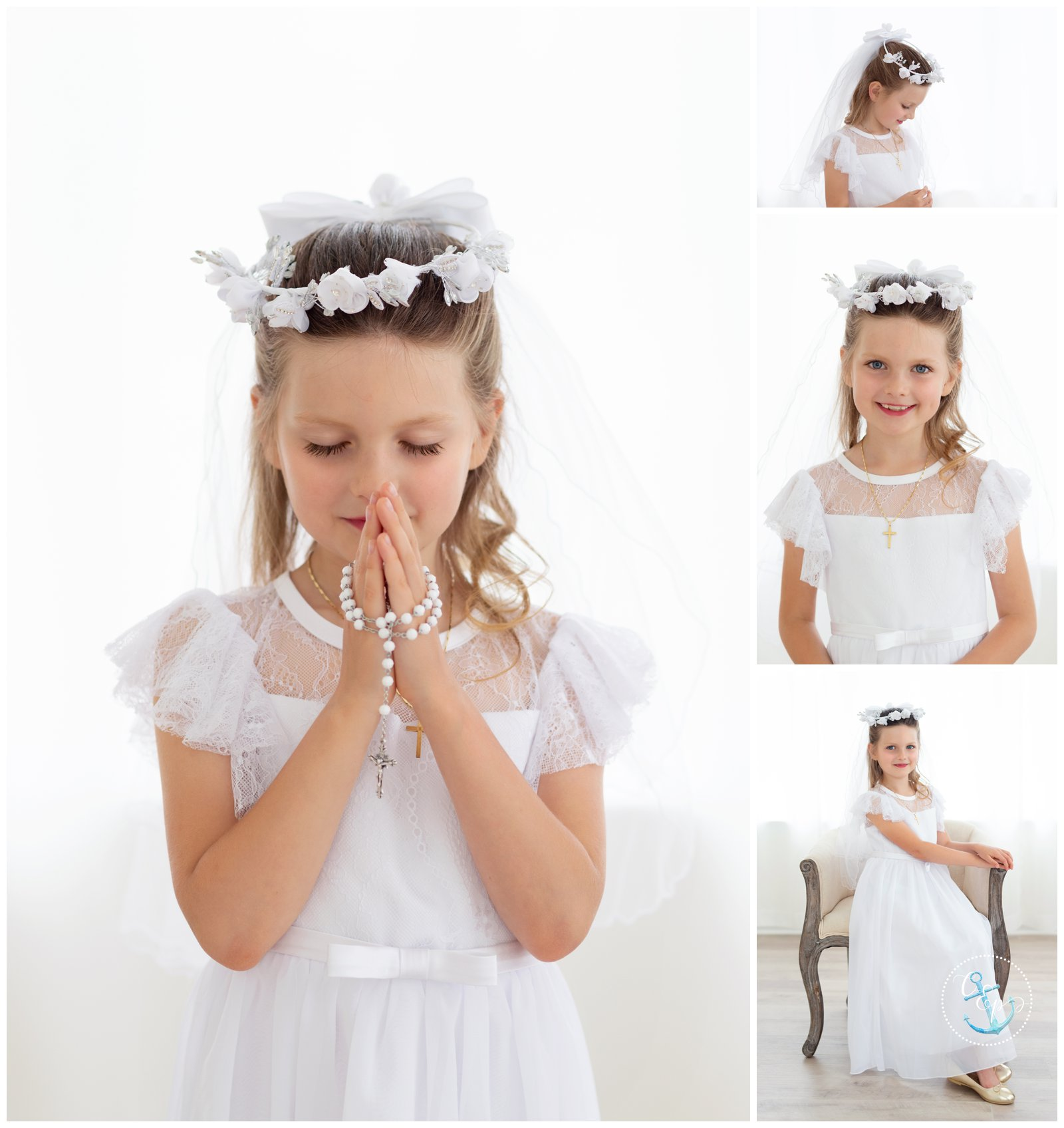 First Communion girl collage, First Communion mini session Frederick MD, First Communion portrait with rosary, Cristina Elisa Photography LLC