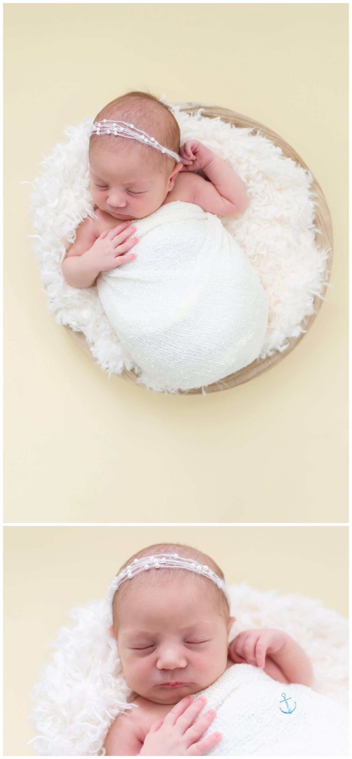 Newborn baby portraits in bowl, creamy background and curly layer, Cristina Elisa Photography Frederick MD