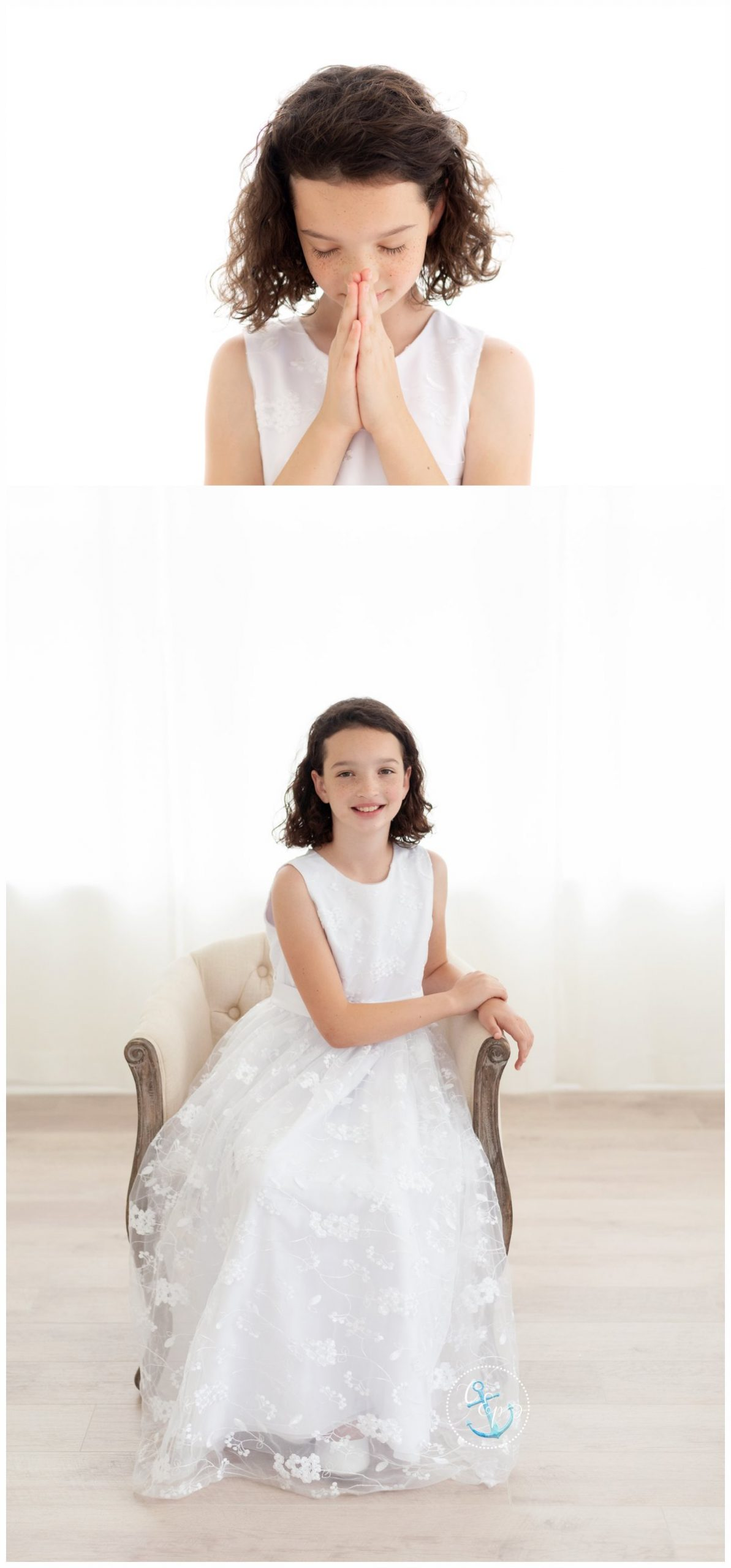 First Communion girl in an embroidered first communion dress, taken in a natural light white studio, photographed in a white, natural light studio. Copyright Cristina Elisa Photography LLC Frederick Maryland