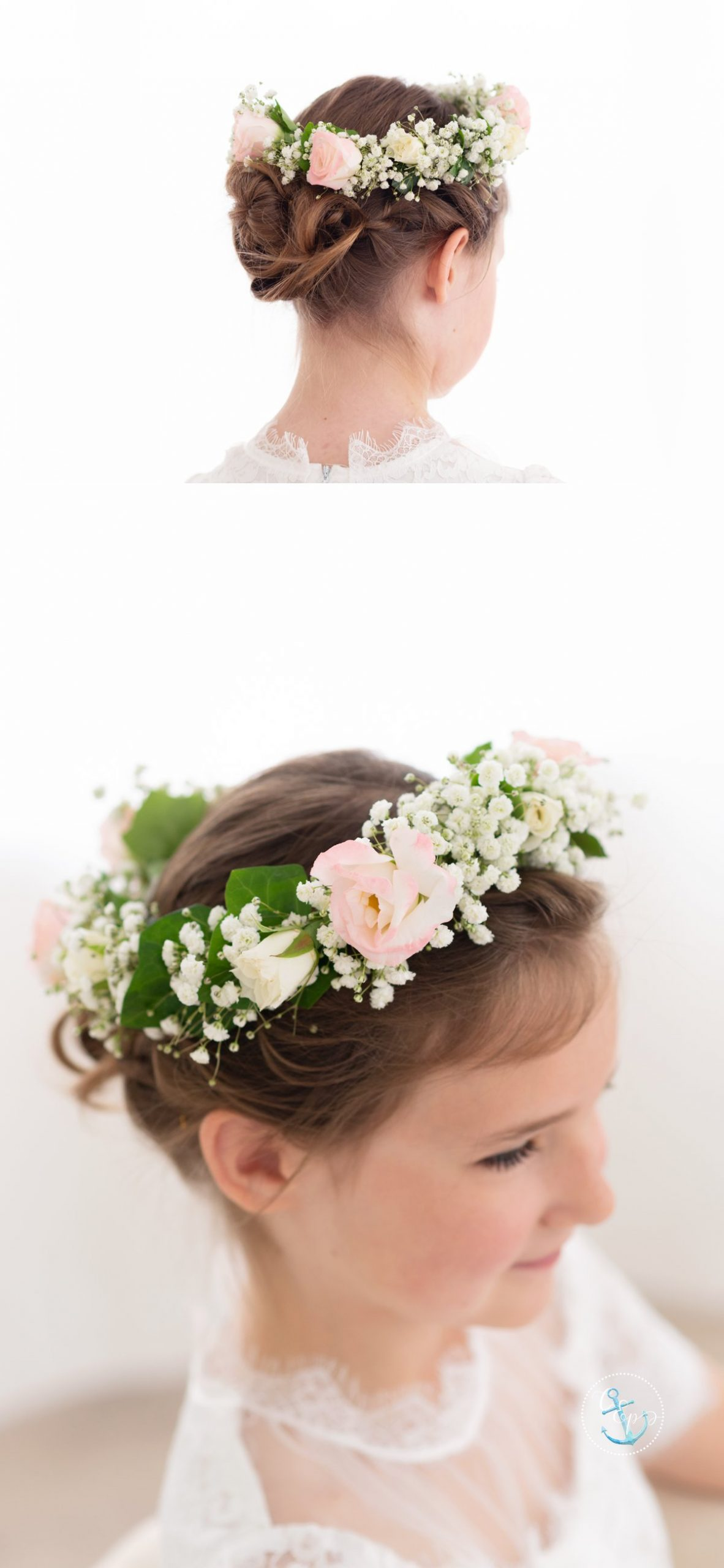 Girl's flower crown for First Communion, Copyright Cristina Elisa Photography LLC