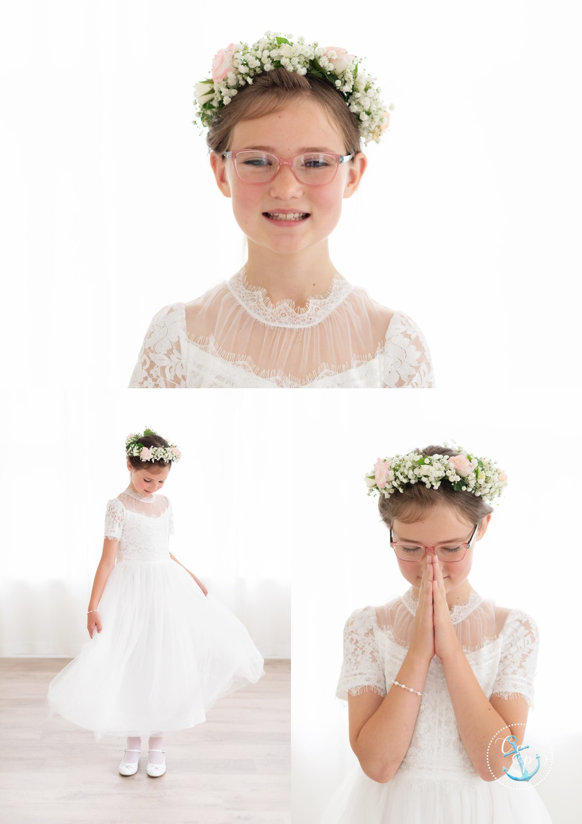 First Communion girl portraits in Frederick Maryland. Girl is wearing a white dress, has a flower crown, and is against a backlit white background. Copyright Cristina Elisa Photography LLC