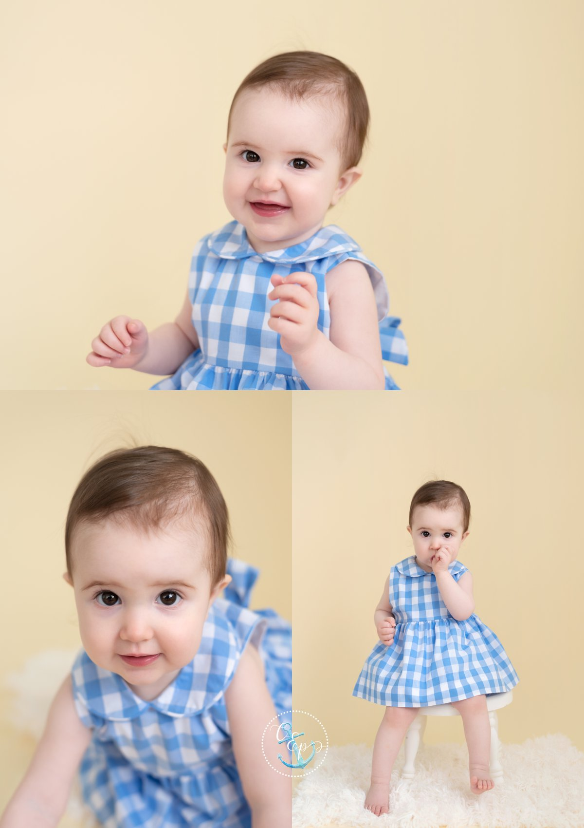 1 year old baby girl on cream background, natural light studio session Frederick MD, Copyright Cristina Elisa Photography LLC