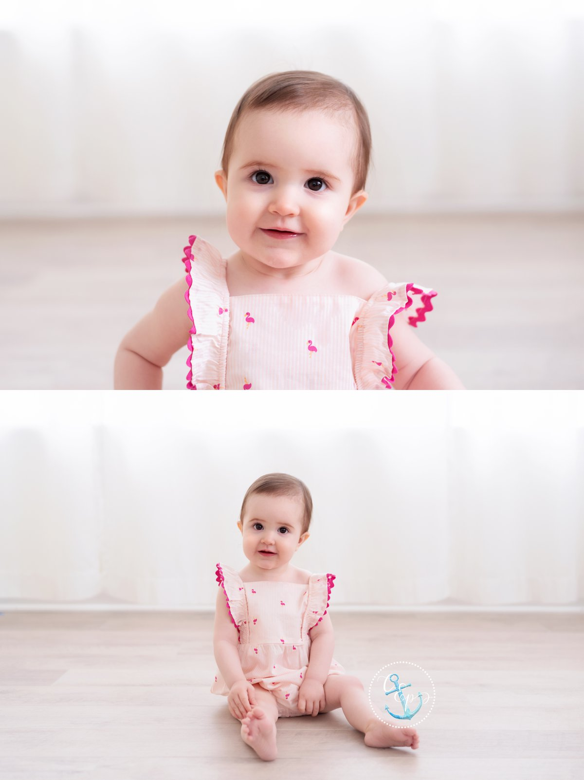 1 year old with white curtain backlit background, natural light studio session Frederick MD, Copyright Cristina Elisa Photography LLC